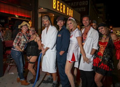 This bar-filled stretch of 200 South served as a magnet for Halloween partiers. Photo: John Barkiple