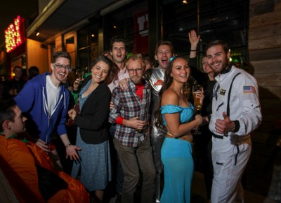 Costumed guests at the Beer Bar filled the patio. Photo: John Barkiple