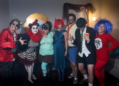 This tiny party was quickly absorbed by a raging costume party four doors south. Photo: John Barkiple