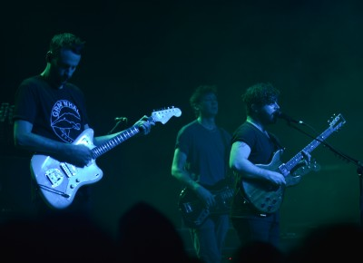 Yannis Philippakis, Jimmy Smith and Walter Gervers of Foals. Photo: Andy Fitzgerrell