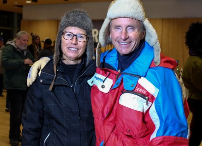 (L-R) Sally and Tom Loken worked the ID verification station at KRCL's 2015 Polar Jubilee, and they listen to KRCL every day. KRCL is her first choice with KUER following close behind. Photo: John Barkiple