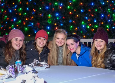 (L-R) Olivia Walker, Megan Kearl, Annika Lindsay, Amelia Christensen and Emily Boren enjoy food truck fare from Chow Truck and Fiore Wood-Fired Pizza. Photo: John Barkiple