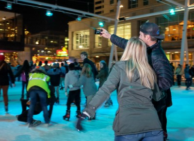 The Gallivan Center's ice skaters added romantic energy to KRCL's 2015 Polar Jubilee. For hand-holding couples, an ice-skating selfie is Instagram gold. Photo: John Barkiple