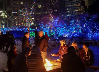 Fire pits and colored lights made for a magical night at KRCL's 2015 Polar Jubilee. Photo: John Barkiple