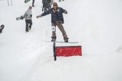 Alex Smith, Open Men's Snowboard, nose press. Photo: Cezaryna Dzawala