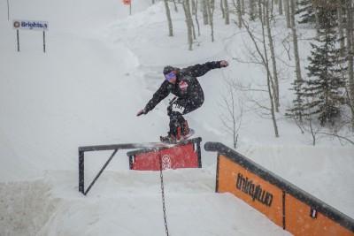 Alec Packer, Open Men's Snowboard, gap to frontslide. Photo: Cezaryna Dzawala