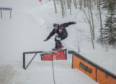 Alec Packer, Open Men's Snowboard, gap to frontslide. Photo: Cezaryna Dzawala
