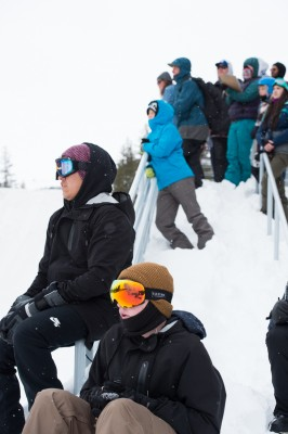 Spectators and judges alike took in the action from the steps outside Millicent Chalet. Photo: Niels Jensen