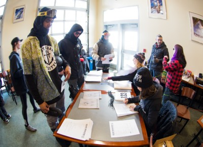 Contestant Rob Roethler gets registered for the comp inside Millicent Chalet. Photo: Niels Jensen