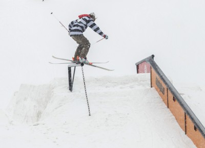 Chase Mohrman, Open Men's Ski, gap to backside boardslide. Photo: Cezaryna Dzawala