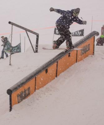 Dillian Gveather, Open Men's Snowboard, 2nd Place. Backside lipslide. Photo: Chris Kiernan