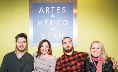 (L–R) Artes de México en Utah board members Renato Olmedo-González and Claudia Benítez, Projects Coordinator Luis López and Co-founder Susan Vogel connect their community through the appreciation of Mexican art and culture. Photo: Russel Daniels