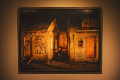 One of the larger prints from David Brothers depicts a wandering child caught between two homes. Photo: talynsherer.com