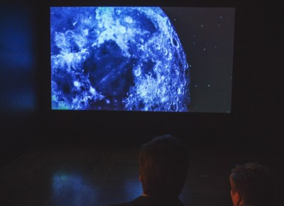 "We all stare in amazement as we are taken to space by artist Larissa Sansour's ""A Space Exodus"" video. Photo: talynsherer.com"