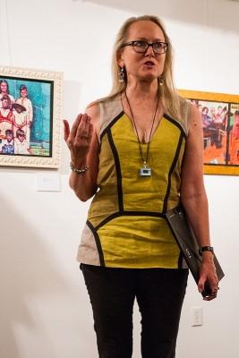 Susan Vogel introduces an Artes de México exhibit at Mestizo Coffeehouse in September 2013. Photo: Helen Leeson