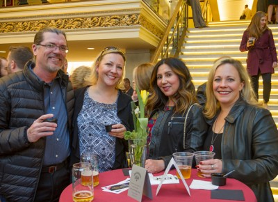 (L-R) Derick Bingman, Samantha Sereno, Tammy Montoya and Brooke Ewing pose for a quick shot in front of the beautifully lit marble staircase inside Capitol Theatre. Photo: Talyn Sherer