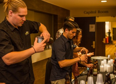 Behind the tables, the bartenders worked tirelessly to keep our thirst in line. Photo: Talyn Sherer