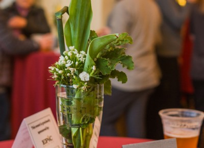 Every Blooming Thing provided some table centerpieces for the event with the help of an Epic Brewery beer glass. Photo: Talyn Sherer