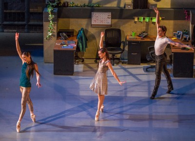 All three dancers now light up the stage in a trio of synchronized poses. Photo: Talyn Sherer
