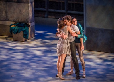 With much relief, we find our trio embracing each other onstage for the first time. Photo: Talyn Sherer