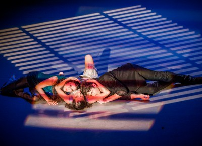 Our final scene underscores love triangle, complete with all three dancers embracing one another. Photo: Talyn Sherer