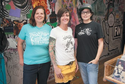 (L–R) Co-founders Hillary McDaniel, Amy Stocks and Secily Saunders aim to make rock culture more empowering and inclusive through the Rock n' Roll Camp for Girls.