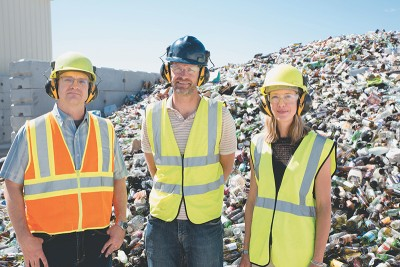 (L–R) John Lair, Jeff Whitbeck and Kate Whitbeck lead Momentum Recycling, Utah's sole glass processor.