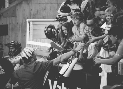 Travis Pastrana signing autographs for young fans. Photo: Matthew Windsor