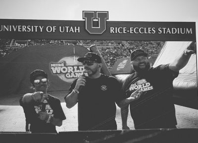 Nitro World Games announcers Catfish, Andy Zeiss, and Micah Kranz. Photo: Matthew Windsor