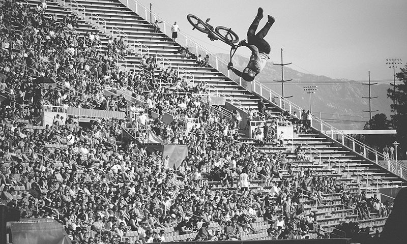 Sending backflip tailwhips high above the crowd at Rice Eccles stadium. Photo: Matthew Windsor