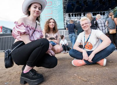 Jillian Rogers, Gabby Anderson and Nathan Milch wait for Thursday's Twilight series music to kick off with local act Elytra. Photo: JoSavagePhotography.com