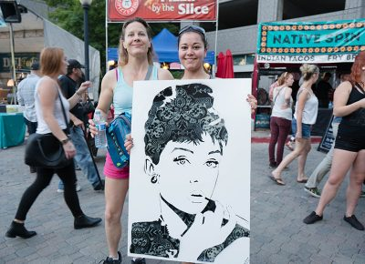 Lydia Mills and Rebecca Ruffel purchased this cool Audrey Hepburn piece by David Overstreet. Photo: JoSavagePhotography.com