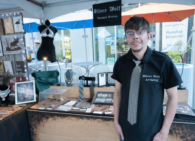 Steven May of Silver Wolf Artistry makes chain-link apparel and art. Photo: JoSavagePhotography.com