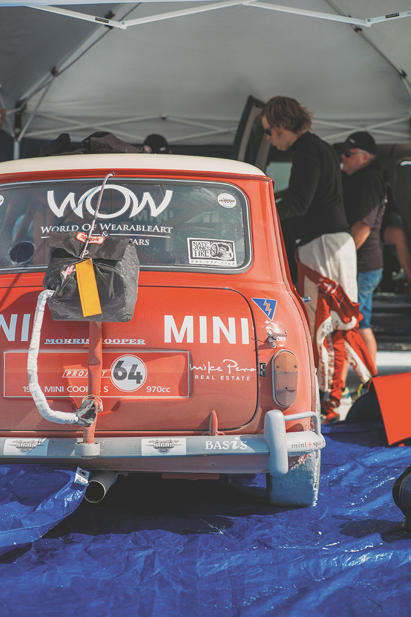 A team from New Zealand brought a 1964 Mini Cooper S, running an A-series block and gearbox (the original configuration). It has a BMW 1200 K series head for better breathing. The car is turbo-charged and makes 330 horsepower on gasoline and 370 horsepower on methanol at the flywheel. On Aug.17 they hit 157 mph.