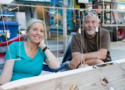 Owners of Rough Hewn, May and Kent Christensen, sell handcrafted necklaces, bracelets and rings made by Kent. Photo: JoSavagePhotography.com
