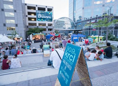 People congregated on the steps and ate food from a variety of food trucks centered around the KRCL stage. Photo: JoSavagePhotography.com