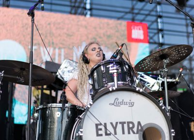 The fairy drummer of Elytra was in the zone while dropping fresh rhythms. Photo: JoSavagePhotography.com