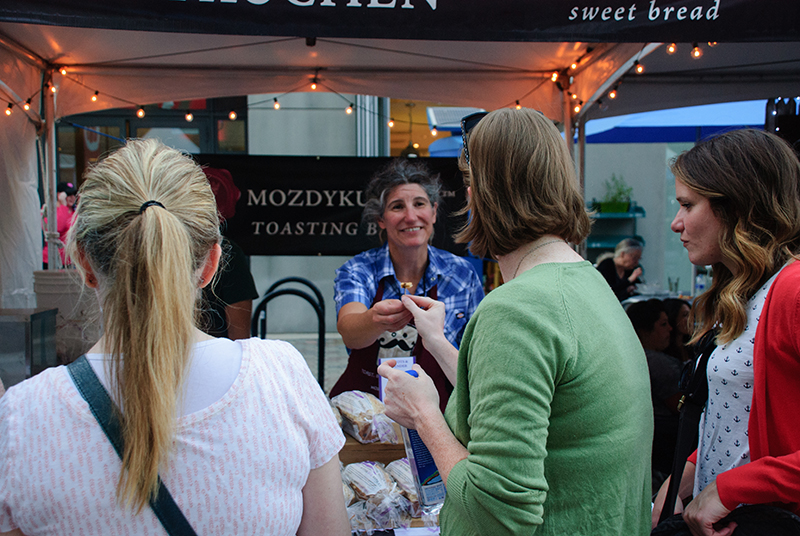 Mozdykuchen hands out samples of sweet bread at Friday's DIY Fest. Photo: @snowlenda