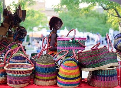 Baskets sold at the Mama Africa craft booth are handwoven in Ghana, West Africa. Photo: @snowlenda