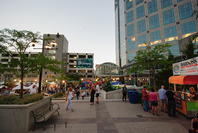 Crowds were still milling through the Gallivan Center despite the approaching sundown on Friday night. Photo: @snowlenda