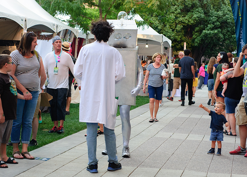 A child is impressed by the robot that made rounds throughout DIY Fest. Photo: @snowlenda