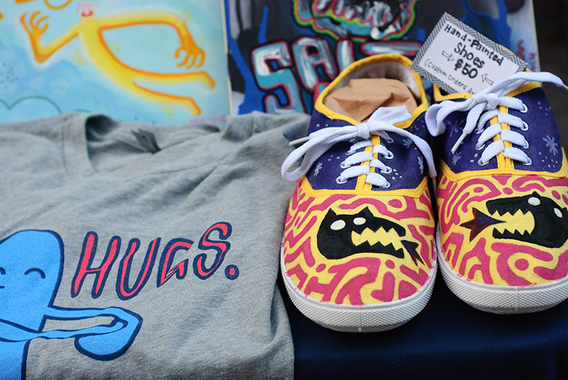 Painted sneakers were one of many original designs at the Goodies & Co. booth on Saturday. Photo: @snowlenda