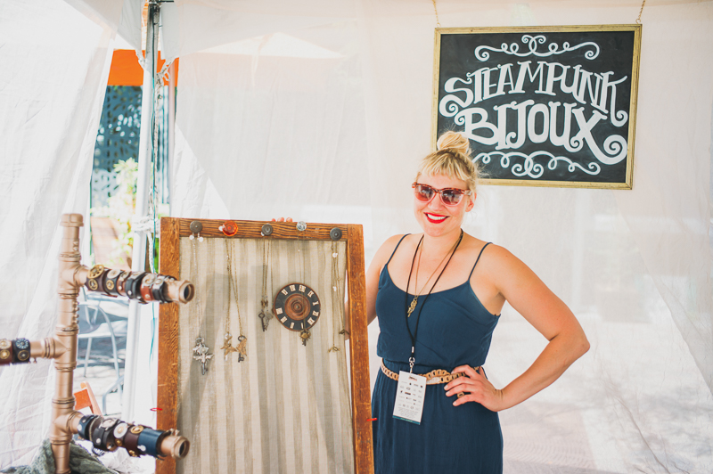 Amy Karpowitz of Steampunk Bijou had eclectic wearable art pieces and jewelry. Photo: @clancycoop