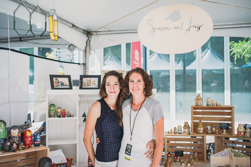 (L–R) Stephanie Engle and Jessica Anderson pose in their booth, which sold beautiful nesting dolls, under the name Sparrow & Jay. Photo: @clancycoop