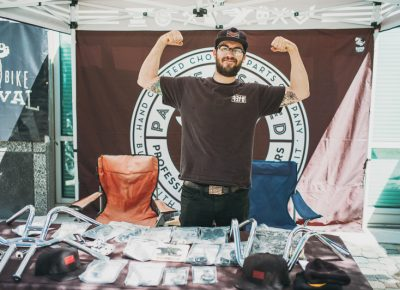 Andy Carter of Pangea Speed brought custom motorcycles as well as some huge muscles. Photo: @clancycoop