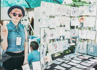 Local artist Heather Mahler was selling her beautiful, character-centric drawings. Check out her style in this month's SLUG Style column. Photo: @clancycoop