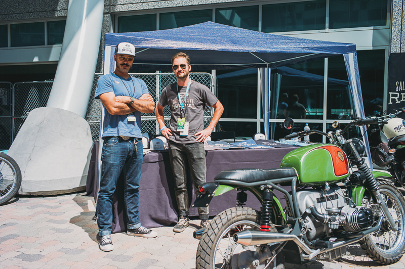 (L–R) Juan Coles and Rev Clark of Salty Bike Revival pose in front of their tent. Photo: @clancycoop