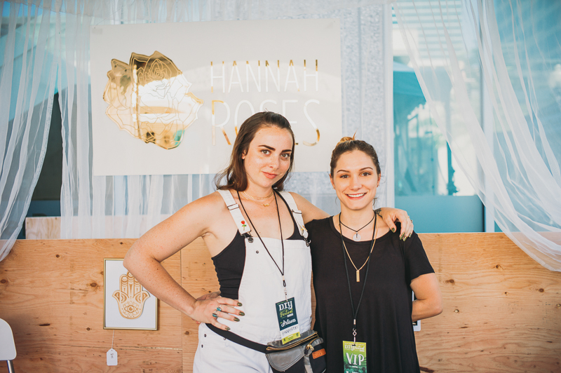 (L–R) Hannah Sholnick and Sirena Bluss of Hannah Roses Jewelry pose in their beautifully appointed booth. Photo: @clancycoop