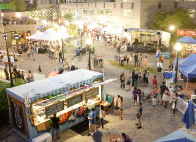 The VIP Patio at the Craft Lake City DIY Festival offers a photogenic perspective of the KRCL stage and the delicious dinner options along Gallivan Avenue. Photo: John Barkiple