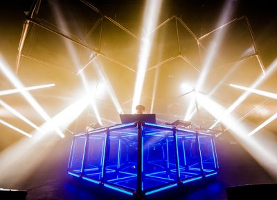"""Flume shows off his new stage production, the """"Infinite Cube."""" Photo: Colton Marsala"""